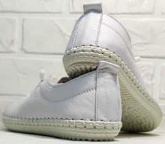 Белые кожаные кеды кроссовки для девушек smart casual Rozen 115 All White.