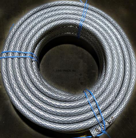 Шланг Ø 18мм армированный серый толщина стенки 4 мм (25 м в бухте)