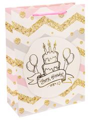 Пакет подарочный с мат. лам. и глиттером С Днём Рождения! Тортик 18х24х8.5 см (M).