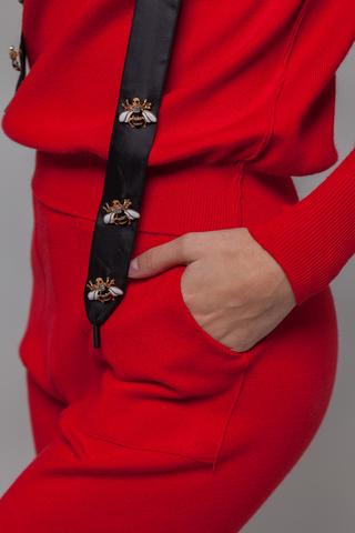 Спортивный костюм женский красный с капюшоном надяшоп
