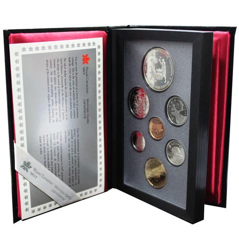 Набор монет Канады 1988 год, в кожаном футляре (Серебро, никель, бронза). PROOF