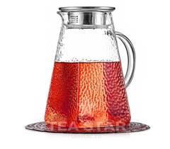 Заварочный чайник-кувшин квадратный, стеклянный, 1200 мл