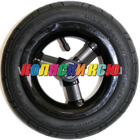 Колесо для детской коляски №003094 надув 10дюймов без вилки 54-152 10х2,0 Черный диск, Серые спицы