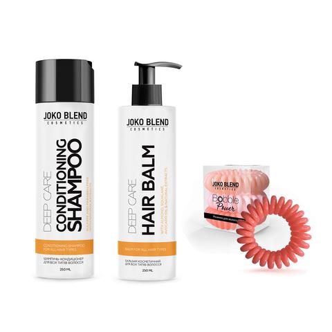 Безсульфатний шампунь-кондиціонер + Бальзам для всіх типів волосся Deep Care + Набір резинок Power Bobble Light Pink Mix В ПОДАРУНОК! (1)