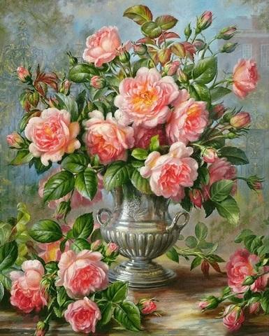 Алмазная Мозаика 30x40 Букет розовых роз в серебряной вазе (арт. S3286)