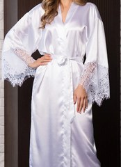 Пеньюар с длинными рукавами и кружевом Evelin белый