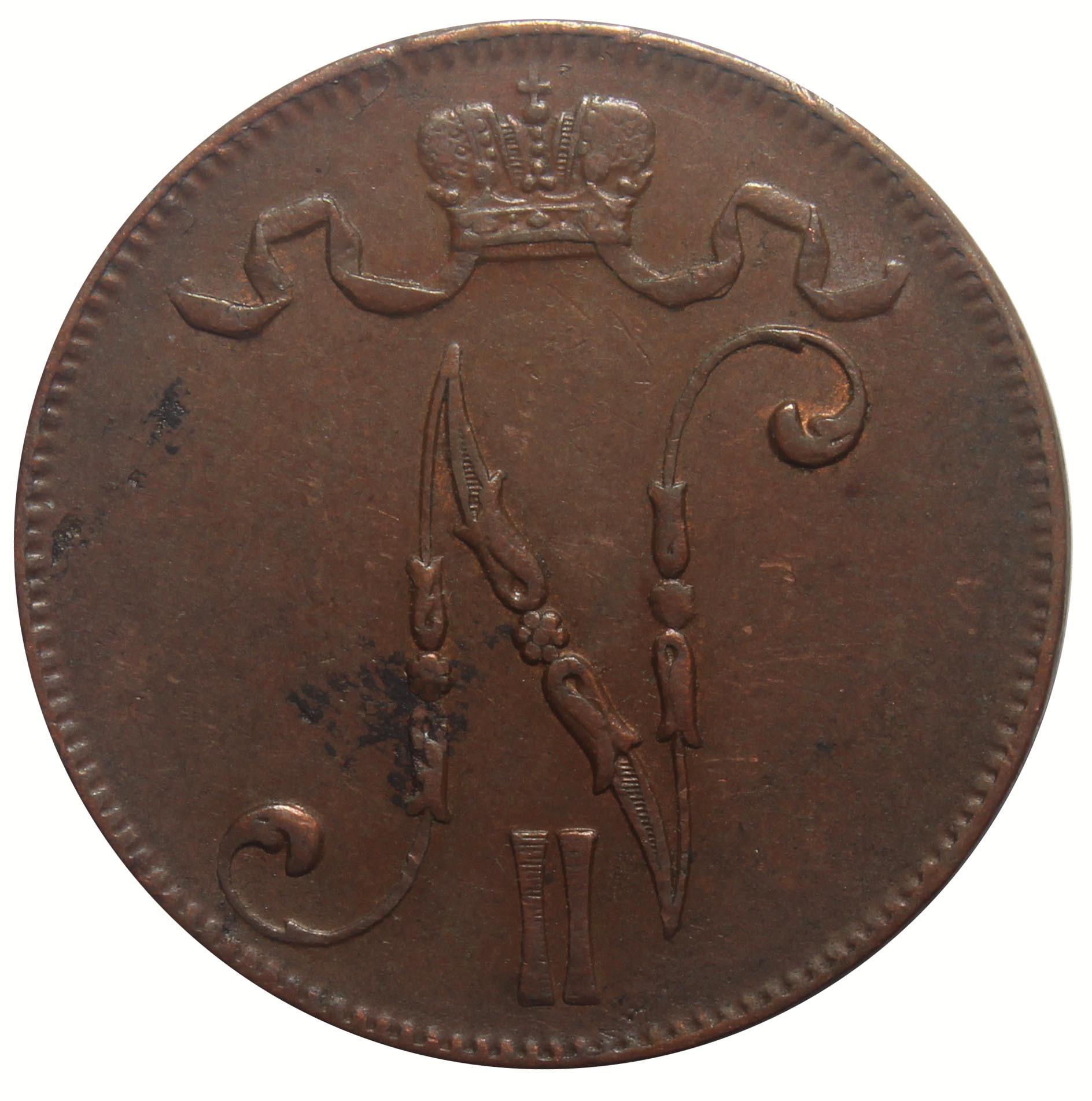 5 пенни 1916 год (Россия для Финляндии) XF