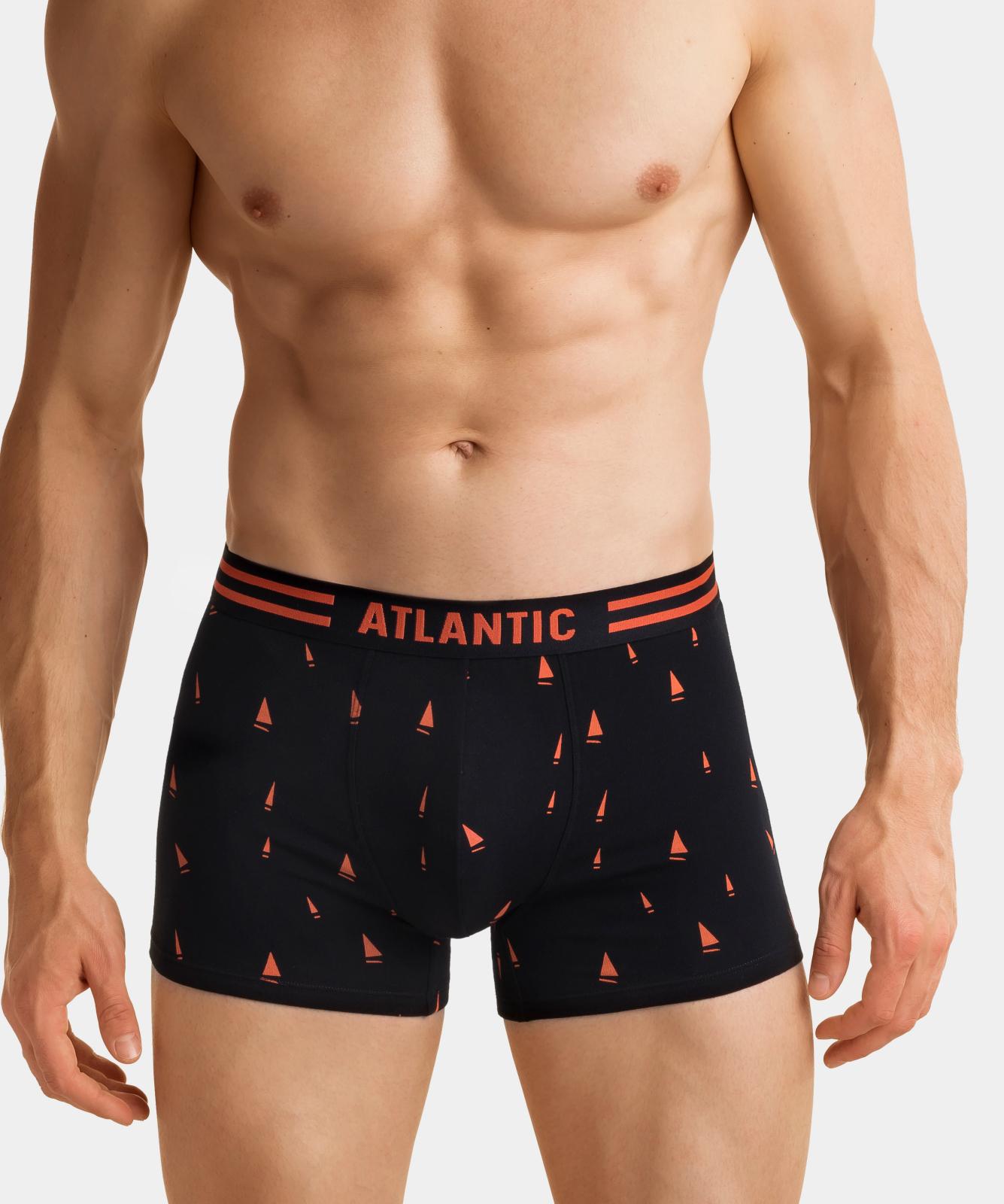 Мужские трусы шорты Atlantic, набор из 3 шт., хлопок, черные, 3MH-021