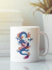 Кружка с изображением Дракон (Dragon) белая 005