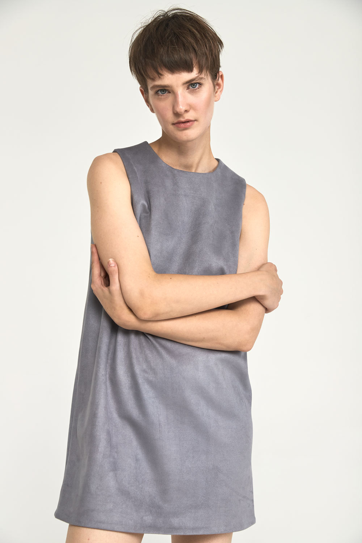 Платье-футляр мини из искусственной замши, серый