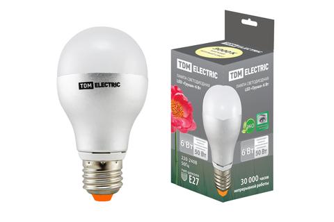 Лампа светодиодная Груша - 6 Вт - 220 В - 3000 К – E27 TDM