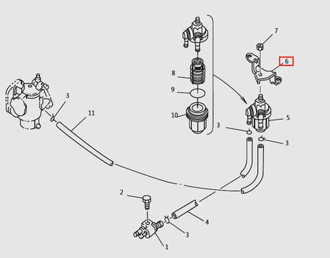 Кронштейн топливного фильтра для лодочного мотора T9.8 Sea-PRO (6-6)