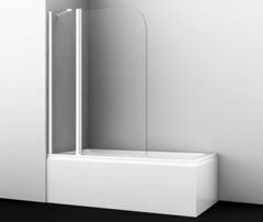 Шторка для ванны WasserKRAFT Leine 35P02-110WHITE Fixed белый профиль, с фиксатором