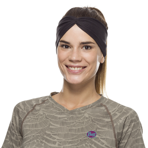 Повязка-чалма летняя Buff Headband Tapered CoolNet Solid Black фото 1