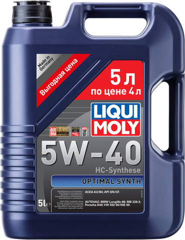 Масло моторное Liqui Moly Optimal Synth 5W40 A3/B4 5 л.