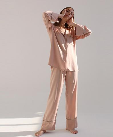 Пижамная рубашка кремовая