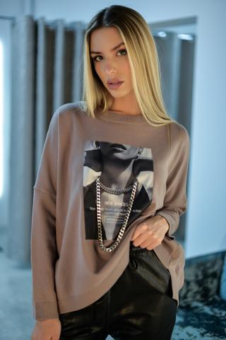 Удлиненный трикотажный свитер Nadya
