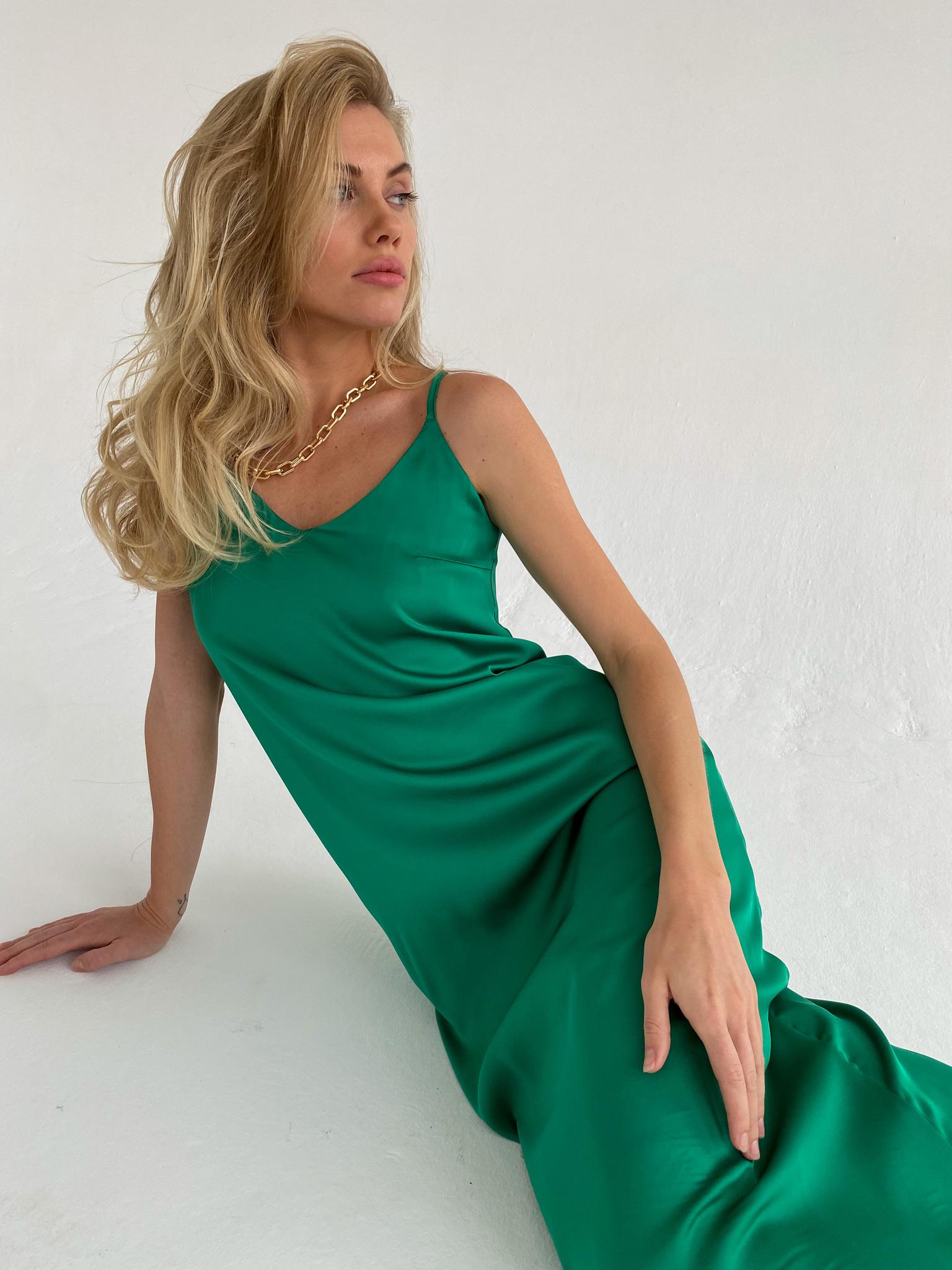 Платье-комбинация из смесового шелка (травяной)
