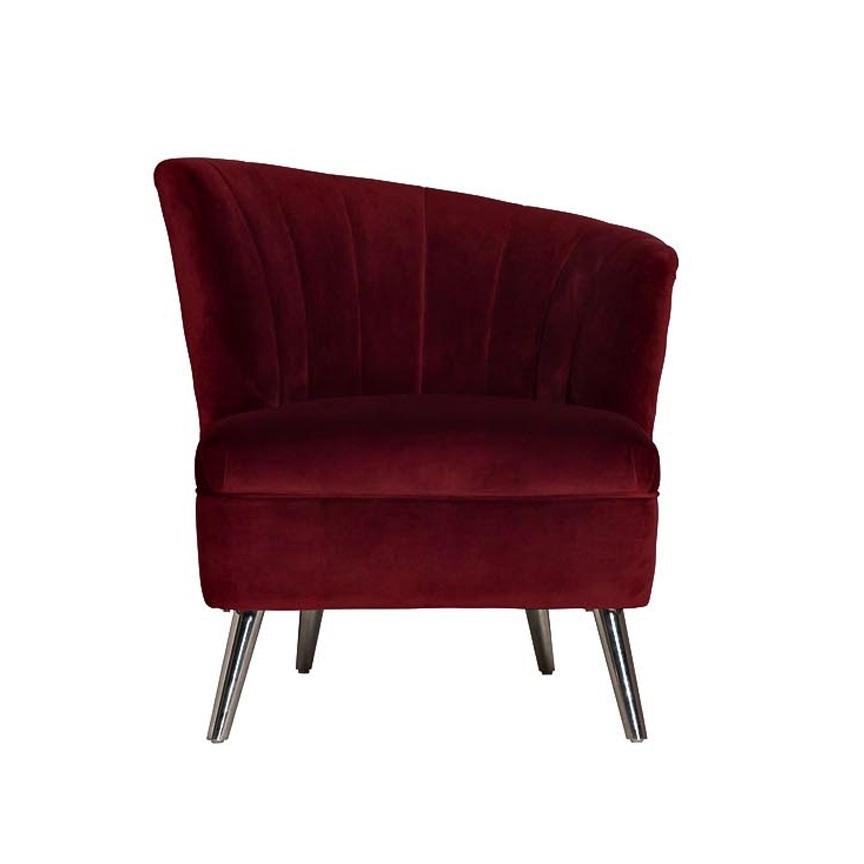 Кресло велюровое бордовое (правое) (48MY-2553-R BUR SLV) Garda Decor