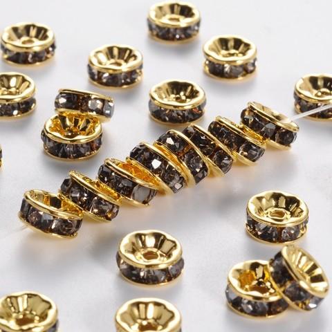 Рондель со стразами 8 мм. золото - прямая обжимка серый топаз