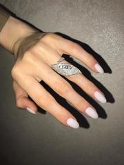 17291- Кольцо Move из серебра с цирконами в форме лепестка