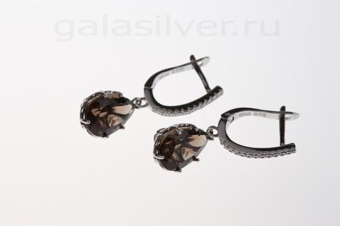 Серьги с раухтопазом и цирконом из серебра 925