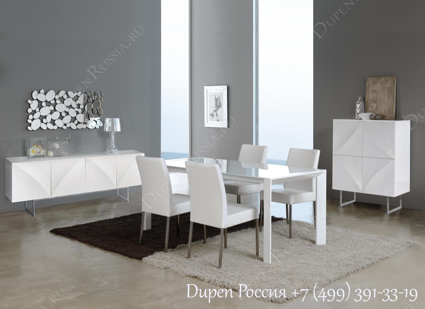 Обеденный стол DUPEN DT-10 Раскладной Белый, стулья DUPEN DC-101, Буфет DUPEN W-101 Белый, Буфет DUPEN W-102 Белый