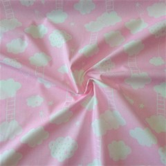 Ткань хлопковая  облачка с лесенкой на розовом