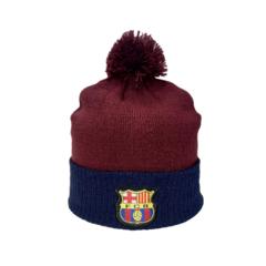 Вязаная шапка с логотипом ФК Барселона (FC BARCELONA) бордовая с помпоном