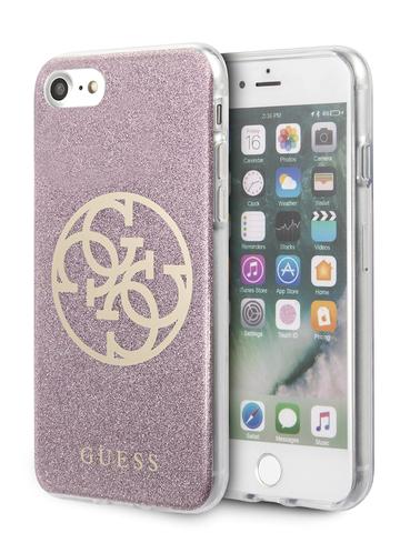 Чехол Guess 4G Circle Logo для iPhone 7/8/SE 2020 |  PC/TPU блестки розовый