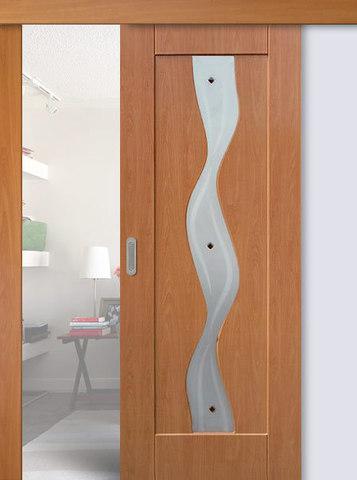 Дверь раздвижная Сибирь Профиль Водопад, цвет миланский орех, остекленная