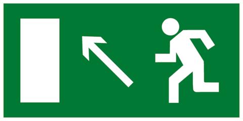 Эвакуационный знак Е06 - Направление к эвакуационному выходу налево вверх