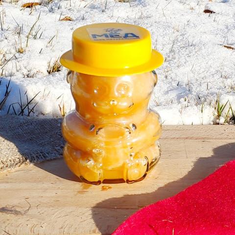 Мёд натуральный цветочный конец лета 2020 Казнаковка 440 г в стеклянной баночке Мишка