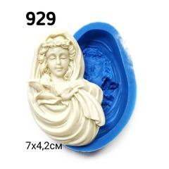 0929 Молд силиконовый. Дама с голубем и лилиями.