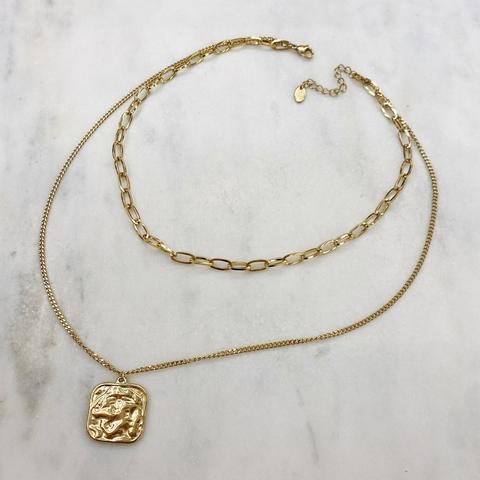 Цепь двойная с фактурным квадратным медальоном, сталь (золотистый)