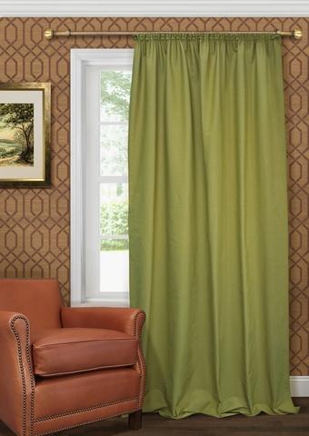 Готовая штора из чистого хлопка с подхватом Адриана зеленый