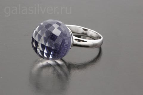 Кольцо горным хрусталем и авантюрином из серебра 925