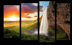 """Модульная картина """"Водопад на закате"""""""