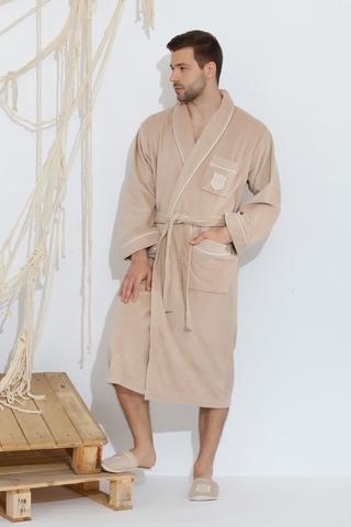 BOSWELL-БОСВЭЛЛ бежевый мужской  халат с тапочками  Maison Dor Турция