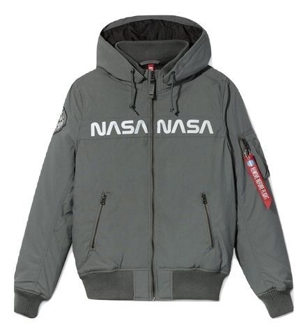 Куртка Alpha Industries MA-1 Hooded NASA II Gun Metal (Серая)