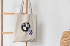 Сумка-шоппер с принтом BMW (БМВ) бежевая 0010