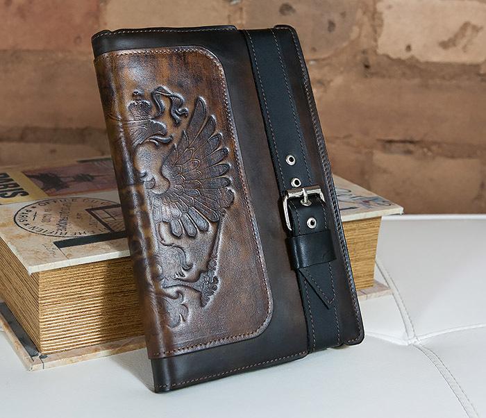 BC120-2 Мужской подарочный кожаный ежедневник ручной работы с гербом (А5)