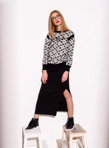 Фото черная шерстяная юбка прямого силуэта с разрезом - Юбка Б092-253 (1)