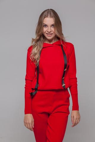 Спортивный костюм женский красный с капюшоном Nadya