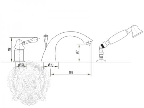 Смеситель для ванны-душа Migliore Maya BN.MAY-8950 CR схема