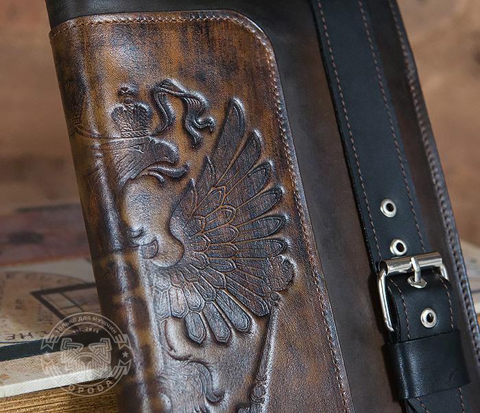 BC120-2 Мужской подарочный кожаный ежедневник ручной работы с гербом (А5) фото 02