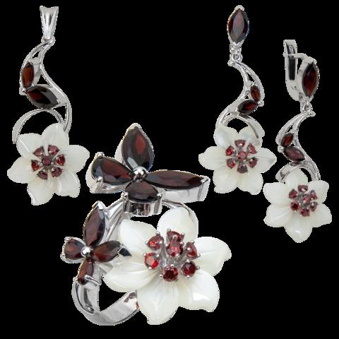 Комплект украшений с цветами из белого перламутра и гранатом № 139