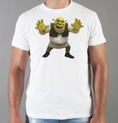Футболка с принтом мультфильма Шрек (Shrek)  белая 005