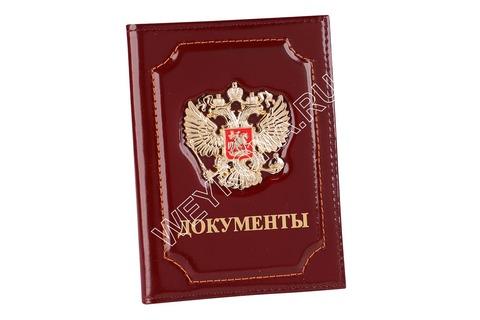 Обложка С ГЕРБОМ РФ БОРДО (ТЕЛЯЧЬЯ КОЖА)