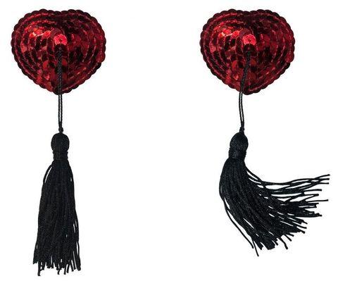Красные пэстисы-сердечки Gipsy с черными кисточками